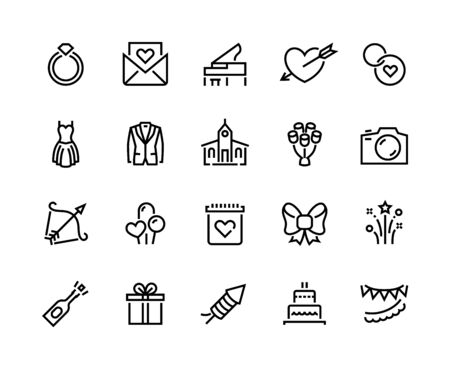 Wedding line icons. Marriage ceremony and honeymoon symbols with cake bouquet bride and groom. Vector wedding set web icon happiness couple valentines day