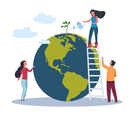 Ecology world concept. Save Green Planet Environment. People take care about planet ecology. Vector flat eco illustrations with woman on globe conservation plant