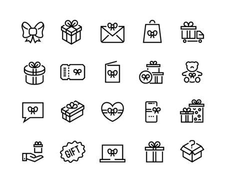 Icônes de ligne de cadeau. Offre de remise, récompense bonus et programme spécial client, cadeau saisonnier et gain à la loterie. Coffrets cadeaux de vecteur pour le présent jeu de surprise