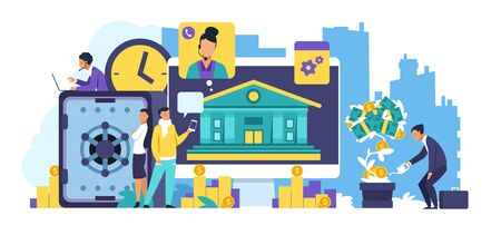 Online banking concept. Trendy cartoon characters making internet transactions and using online mobile banking. Vector illustration receipt transfers and finance savings in financial support bank