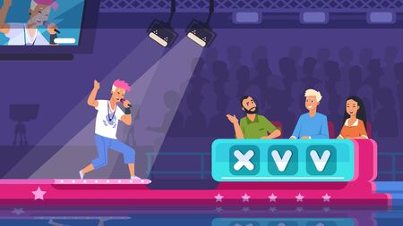 TV talent show. Cartoon song contest with lighted stage, performer and jury celebrities. Vector illustration television competition scene with guy sings popular composition in podium