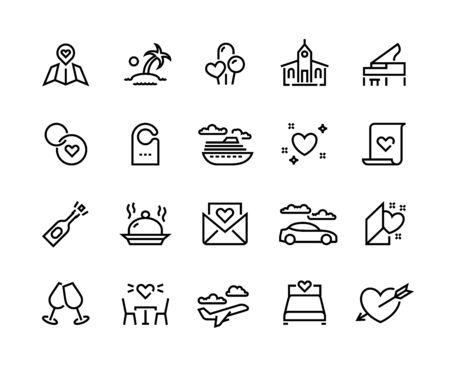 Honeymoon line icons. Wedding voyage and Valentine hearts symbols, love and marriage travel. Vector romantic couple bridal travel set, lines love modern icon Vecteurs