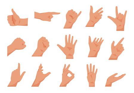 Handbewegungen. Flache Sammlungen von Armen, die verschiedene Gesten zeigen, zeigen und grüßen. Vektorkarikatur lokalisierte Palmen eingestellt, Poserhände lokalisiert auf weißem Hintergrund