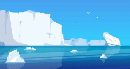 Arctic landscape. Glaciers and icebergs in blue frozen ocean, cartoon ice mountains and melting ice. Vector North pole sea scene floating glacier melt