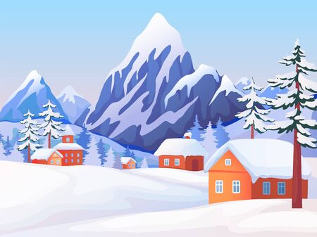 Winter rural landscape. Nature scene with snowy mountain peaks, wooden houses and spruce trees. Vector illustrations winter resort background with nature tranquillity panorama village