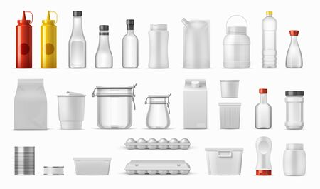 Food packages. Sauce bottles and cereal containers, realistic kitchen boxes, carton plastic and metal packs. Vector isolated empty container and bottle mockups for drink and food on kitchen