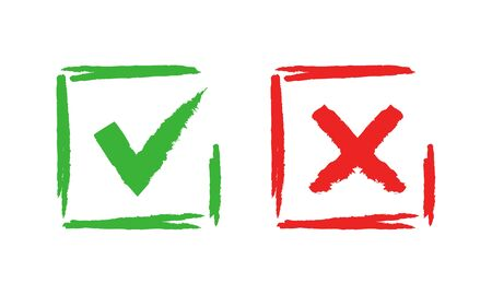 Tick and cross check marks. Good and bad choice grunge brush sign. Vector checklist crossed out or check symbols, right or wrong, good or bad marking signs