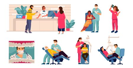 Dentist and patient. Cartoon scenes with tooth care, man in dental chair, mouth checkup and examination. Vector dentistry work concept with illustrated dental hospital