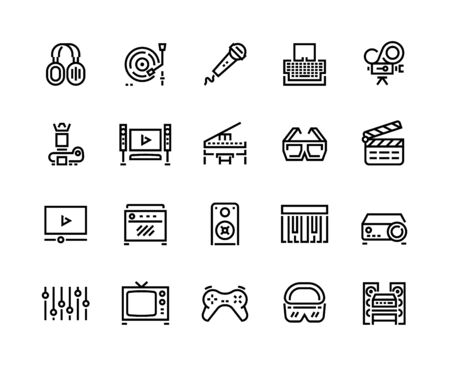 Media line icons. Technology and multimedia devices, filmmaking editing and watching, playing and listening to music. Vector set musical icon with microphone, headphones, piano, camera, radio