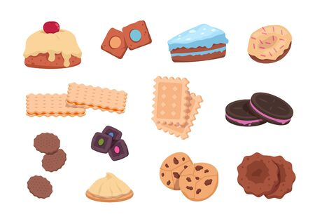 Cartoon cookies. Chocolate snack and sweet bakery, Christmas dessert and sugar candies. Vector isolated illustration sweets with fruits and shaped cookies on white background