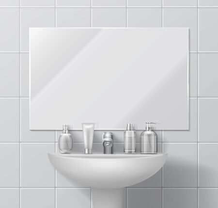 Realistic sink and mirror. Bathroom or toilet interior with set of cosmetic containers and dispenser. Vector white ceramic on floor and walls, sink and faucet illustrations on interiors washroom