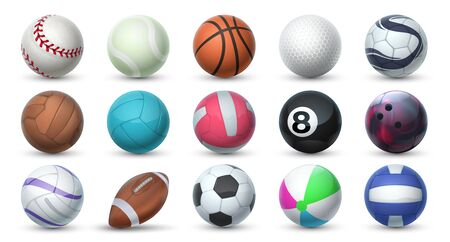 Realistic sport balls. 3D equipment for football, soccer, baseball, golf and tennis. Vector set illustration of balls for professional sport activities and games isolated on white background Illustration