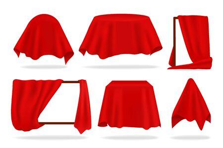 Couverture en soie rouge. Objets couverts réalistes avec un drap drapé ou révélant un rideau, une serviette rouge ou une nappe. Ensemble d'illustrations isolées 3D vectorielles couvrant à révéler l'objet de forme sur fond blanc