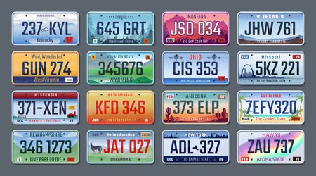 Car plates. Vehicle license numbers of different American states and countries, truck registration numbers. Vector set road transport metal signs