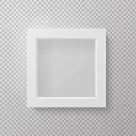 Realistic picture frame. Square empty 3d isolated grey mockup front view on wall. Vector white poster on transparent background
