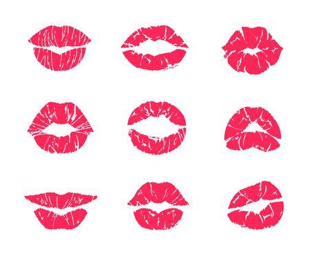 Beso de lápiz labial. Maquillaje de boca femenina, impresión de grunge rojo de labios de mujer aislado en blanco, conjunto de símbolos de asunto. Marcas de beso de labios de ilustración vectorial, atractivos símbolos románticos besos