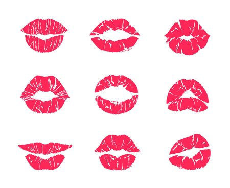 Lipstick kiss. Female mouth makeup, woman lips red grunge print isolated on white, set of affair symbols. Vector illustration lip kiss marks, attractive romantic kissing symbols Çizim