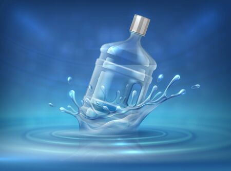 Water dispenser bottle. Realistic advertising background with big water can and splashes. Vector ad mockup of 3d plastic bottle for industrial purifier bottling delivery Vektoros illusztráció