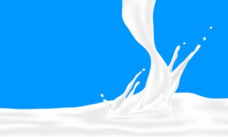 Milk splash background. White cream wave with crown and drops, realistic 3D yogurt flaw. Vector pouring liquid dessert design template on blue