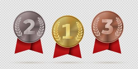 Gold, silver, bronze champion medal with red ribbon. First, second, third placement achievement bages. Realistic vector illustration medals of metal like symbol motivation or quality