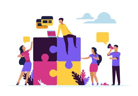 Business teamwork concept. Puzzle elements with cartoon business people, metaphor of partnership and collaboration. Vector design connected corporate team working over idea creative image Illustration
