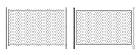 Metal wire fence. Realistic 3D chainlink background, prison security steel fence isolated on white. Vector metal grid fence for separation barrier industries construction safety Banque d'images - 137445997