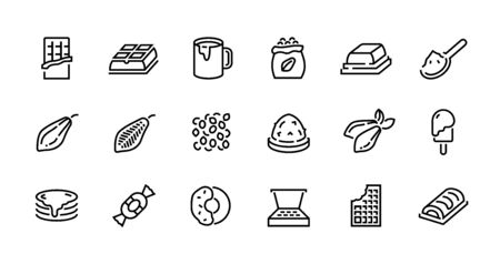 Chocolate line icons. Cocoa pods beans and packs, chocolate candies bars toppings and hot drink. Vector cacao pictograms set organic sweets symbols on white