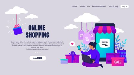 Online shopping. Cartoon people characters making online orders and buying via internet, e-commerce concept. Vector landing page with flat image smartphone and women in internet discounts shop