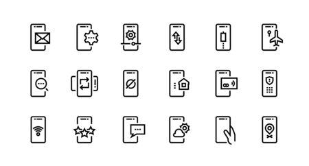 Icônes de ligne téléphonique. Notification et ajustement des appareils mobiles, paiement sans fil et données privées sécurisées. L'icône du commutateur vectoriel décrit l'application définie pour l'e-mail de notification de texte de recherche Vecteurs