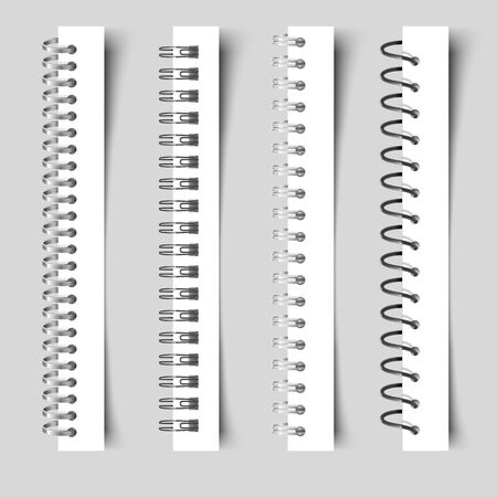 Carnet de spirales réalistes. Classeur en métal modèle 3D à visualiser. Feuilles de fixation en spirale et bague de reliure de carnet de croquis Ressort d'illustration vectorielle pour calendrier ou bloc-notes