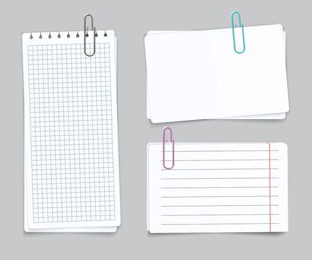 Diferentes hojas realistas. Clips de papel de color de papel de cuaderno rasgado cuadriculado en blanco. Papeles vectoriales para publicar recuerdos y recordar notas Ilustración de vector