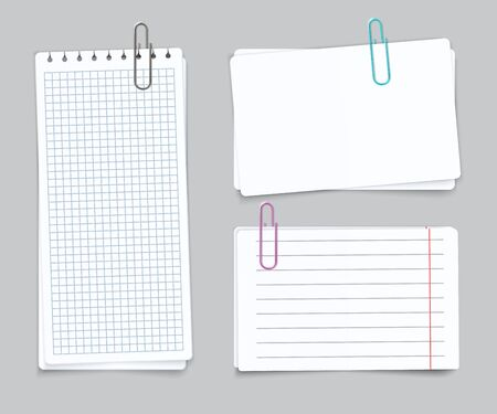 Realistic Different sheets. Blank gridded torn notebook paper color paper clips. Vector notepapers for post memories and remember notes