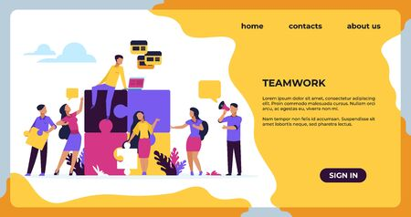 Business teamwork landing page. Puzzle elements with business people, leadership and collaboration. Vector web page construction team strategy for business development