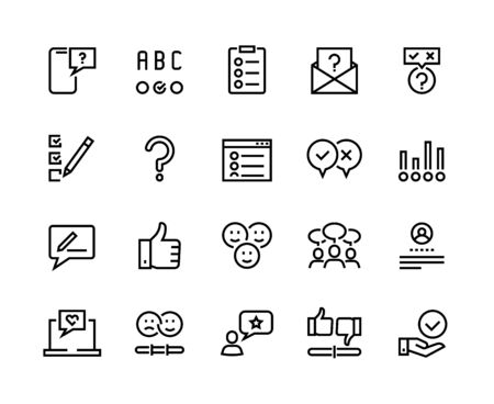 Survey line icons. Quiz and checklist stroke pictograms, customer questionnaire and feedback. Vector concept customer feedback option set for communication management marketing