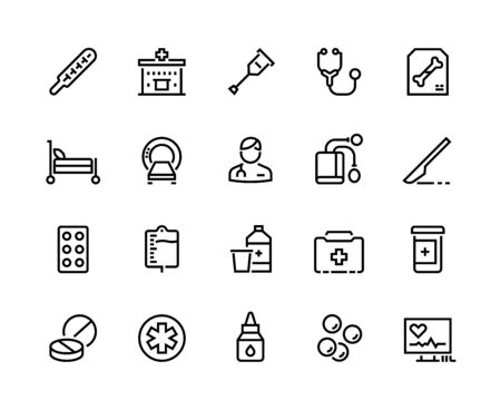 Medical line icons. Healthcare and insurance, prescription and different pills, pharmacy drugs symbols. Vector illustration clinic equipment or service ambulance set Ilustracja