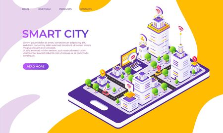 Isometric city landing page. Futuristic digital town with innovative buildings and technology. Vector 3D flat illustrated smart town design, creative moderner company concept