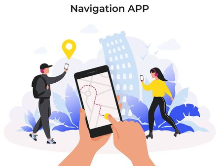 Navigation app. Mobile application with map route for food or package delivery service on smartphone. Vector illustration concept tracking technology person using mobile phone and help in journey