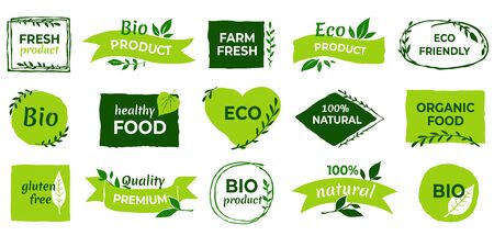Organic . Vegan product labels, natural food and eco vegetables badges, fresh and healthy product stickers. Vector set icon nature farm quality product for eat or drink
