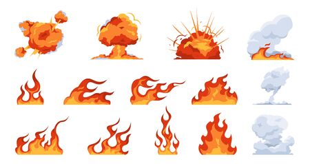 Cartoon fire flame. Flat fireball smoke and explosion effects, flames of different shapes. Vector fire ignition and heat danger set. Fireball illustration and flaming collection symbol Çizim