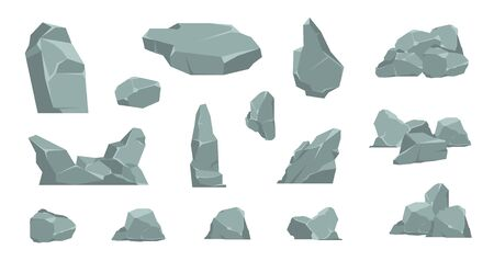 Cartoon stones. Cartoon pile of rocks, gravel elements and granite boulder, flat isometric concrete and coil. Vector 3D flat set isolated boulders for building on white background in games