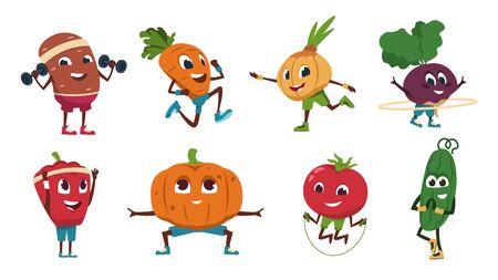 Cartoon-Gemüse-Übungen. Gesunde Lebensmittelcharaktere, die Fitnessaktivitäten und Sporttraining machen. Vektor süße und lustige Gemüse Set Zeichnung Essen glückliche flache frische Charaktere Vektorgrafik