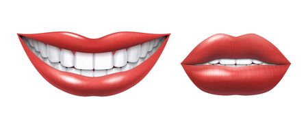 Realistic smile. Woman laughing mouth with white teeth and lips, oral healthcare and make up model. Vector human beauty smile illustration, beautiful girl smiles image on white background Çizim