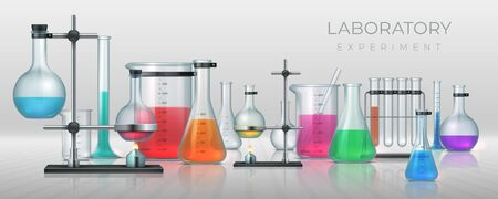 Realistic laboratory. Chemistry lab equipment, 3D flask tubes beaker and other measuring colored filling glassware. Vector chemical or medicine experiment for solutions research or test Çizim