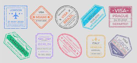 Passport stamps. International travel visa marking, business travel and immigration vintage labels. Vector airport stamp set world city travel arrivals symbol stamping traveling on gray background Çizim