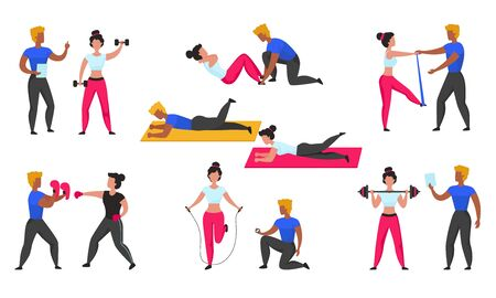 Gym coach. Personal workout fitness trainer, cartoon characters doing sport exercises and cardio and weightlifting. Vector illustration workout set with personal supporting during training athletes Çizim