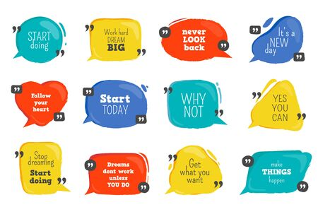 Quote box. Doodle speech bubbles with motivation text, colorful comic banners for comments and quotes. Vector slogan set for chatting design or comic speak elements