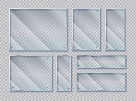 Realistic glass banners with screws. Glass banners shapes with glossy glare reflections. Vector isolated plates with window reflection set on transparent background Illustration