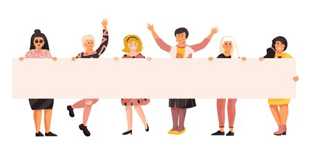 Women on protest demonstration. Young persons holding empty banner, happy cute flat characters on meeting. Vector woman set political activist manifestation or demonstration different ethnic women Illustration