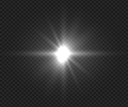 Beautiful light explodes. Glowing brightness radial effects. Realistic camera flash element. Vector shiny white highlight, flashlignt star burst or sun beams Çizim