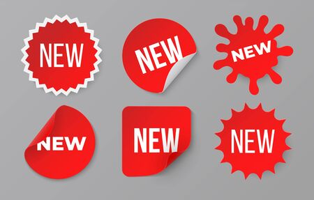 New sticker set. Sale product red badge label. Minimal sale banner for web store. Vector image symbol retail promotion for original discount banners